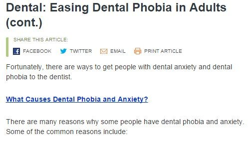 Dental -Easing Dental Phobia in Adults (cont.)